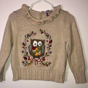 Tan intarsia angora embroidered button owl sweater